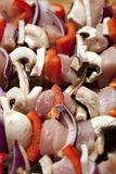 Chicken and vegetable kabobs. Royalty Free Stock Photo