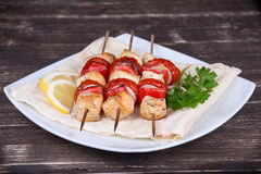 Chicken and vegetable kabobs Royalty Free Stock Photo