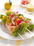 Chicken and vegetable kebab Stock Photography
