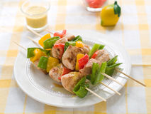 Chicken and vegetable kebab Royalty Free Stock Photography
