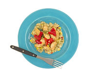 Chicken vegetable meal on plate with fork Royalty Free Stock Photos