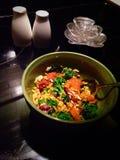 Chicken Vegetable Orange Honey Stir Fry. Stirfry ricedish rice asian Japanese Chinese Stock Photo