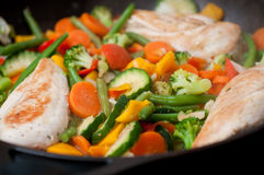 Chicken and vegetable in pan Royalty Free Stock Photos