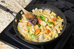 Chicken and vegetable pasta Stock Photo