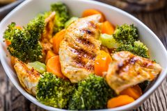 Chicken and vegetable salad. Pieces of grilled chicken with carrots and broccoli Stock Image
