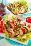 Chicken and vegetable skewers Stock Images