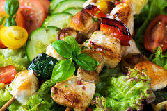 Chicken and vegetable skewers Stock Photography