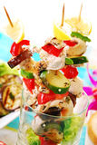 Chicken and vegetable skewers served in glass Royalty Free Stock Image