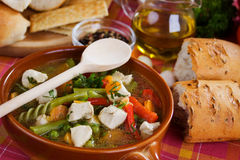 Chicken and vegetable soup. Traditional homemade chicken meat and vegetable soup Stock Photo