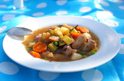 Chicken and vegetable soup Stock Photo