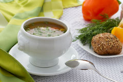 Chicken vegetable Soup Stock Images