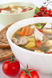 Chicken and Vegetable Soup Close Up Stock Photo