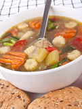 Chicken and Vegetable Soup Close Up Royalty Free Stock Photo