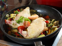 Chicken and Vegetable cooked Royalty Free Stock Photos