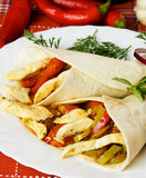Chicken and vegetable taco shells Royalty Free Stock Photo