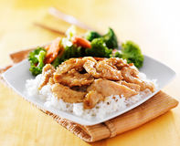 Chicken and vegetable teriyaki dish Stock Photos
