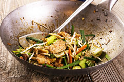 Chicken with Vegetable in Wok Stock Photo