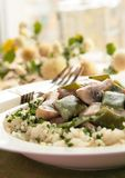 Chicken with vegetables in cream sauce Royalty Free Stock Photography