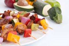 Chicken and vegetables kebabs Stock Image