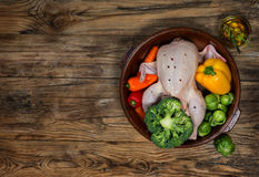Chicken with vegetables and olive oil top view Royalty Free Stock Images