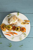 Chicken with vegetables overhead Royalty Free Stock Photo