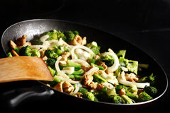 Chicken and vegetables on a pan Stock Image