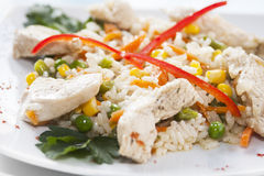 Chicken and vegetables pilaf Royalty Free Stock Photo