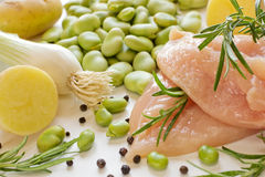 Chicken with vegetables and rosemary Royalty Free Stock Image