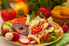 Chicken and vegetables salad stock photos