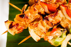 Chicken and vegetables skewers Stock Image