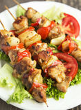 Chicken and Vegetables Skewers Stock Images