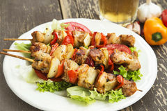 Chicken and Vegetables Skewers Royalty Free Stock Image