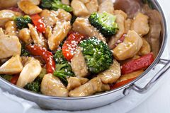 Chicken and vegetables stir fry Royalty Free Stock Photography