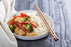 Chicken and vegetables stir fry Royalty Free Stock Image