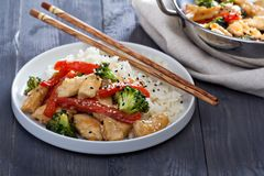 Chicken and vegetables stir fry Stock Image