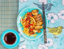 Chicken with vegetables in teriyaki sauce in Japanese Stock Image