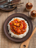 Chicken and vegetables in tomato sauce and rice Royalty Free Stock Photography