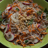 Chicken Vermicelli Bowl. With Nuoc Cham and Herbs, probably one of the easiest items to make so far, and delicious Royalty Free Stock Photography