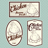 Chicken vintage labels. For using in different spheres Stock Photos