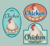 Chicken vintage labels Royalty Free Stock Photo