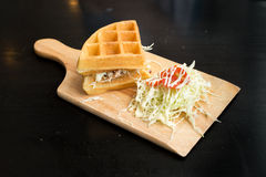 Chicken with waffle and salad Stock Photos