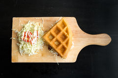Chicken with waffle and salad Stock Image