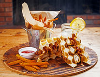 Chicken and Waffles With Sweet Potatoes Stock Photography