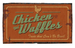 Chicken and Waffles Tin Sign Royalty Free Stock Images