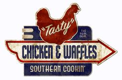 Chicken and Waffles Sign Retro vintage antique royalty free stock photos