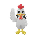 Chicken white cartoon is cute illustration of paper cut Royalty Free Stock Photography
