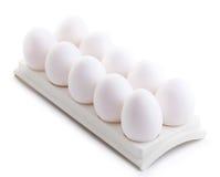 Chicken white eggs closeup Royalty Free Stock Photos