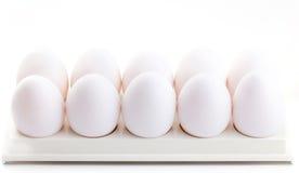 Chicken white eggs closeup Stock Photo