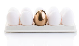 Chicken white and golden eggs Royalty Free Stock Image