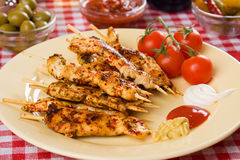 Chicken white meat on skewer Royalty Free Stock Photography